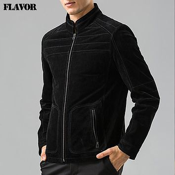 Men's real leather jacket motorcycle Genuine Leather jacket padding cotton warm coat male