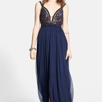 Free People Embellished Chiffon Maxi Dress