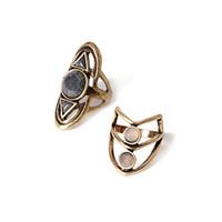 Faux Stone Cutout Ring Set