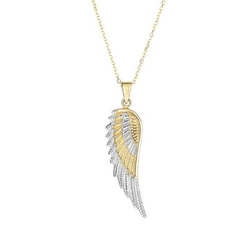 14K Yellow-White Gold Texted Angel Wing Pendant on 14K Yellow Gold 0.8mm Diamond Cut Cable Chain with Lobster Clasp