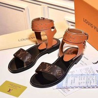 LV Slippers【Louis Vuitton】LV One word with flat bottom high boots Women Sandals B/A