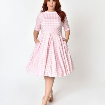 2b5526ac64 The Pretty Dress Company Plus Size Pink   White Gingham Hepburn