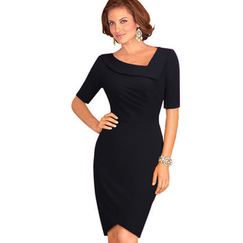 Women Elegant Career Wear To Work Office Business Sheath Bodycon Dress Modest Chic Tunic Slim Pencil