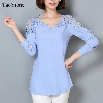 New Women Blouse Femininas 2016 Long Sleeve Blouse Shirt Women V-Neck Floral Lace Sexy Casual Linen Shirts Plus Size Lady Shirt