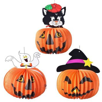Hoomall 1PC Halloween Party Decoration Animals Pumpkin Paper Hanging Ornaments Hallowmas Props For Trees Bar DIY Accessories