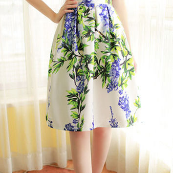 White Floral Print High-Waisted A-Line Midi Skirt