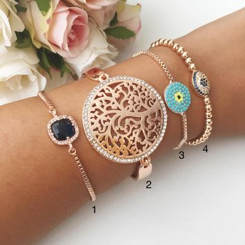 Rose gold bracelet, evil eye bracelet, tree of life bracelet, birthstone bracelet, turquoise beads bracelet, zirconia bracelet, eye jewelry