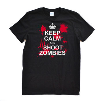 """Killer """"Keep Calm and Shoot Zombies"""" Design on Black or Brown Adult Tee Shirt The Zombie Hunter Inspired Zombie Shooter Halloween or Anytime Awesome Tee"""