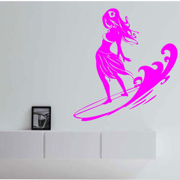 Surfing girl Surf Girl Hula Hawaii Vinyl Wall Decal Sticker Art Decor Bedroom Design Mural interior design beach waves
