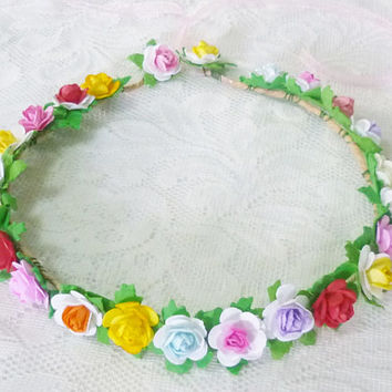 Colorful rose flower crown Gift for her/ Flower crown/ Hippie headpiece/ boho wrath