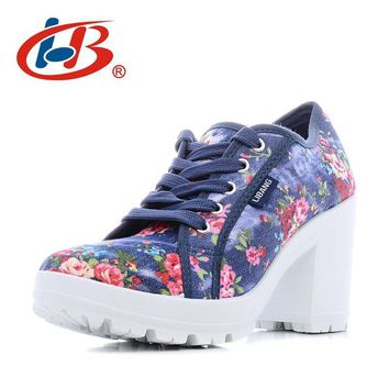 New High Wedge floral print sneakers