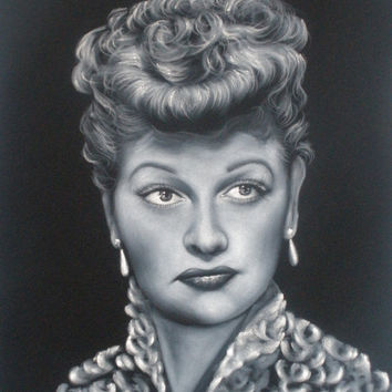 I love Lucy  Lucille Ball black velvet oil painting handpainted signed art