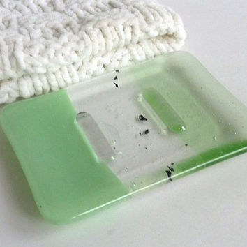 Glass Soap Dish in Mint and Pale Green