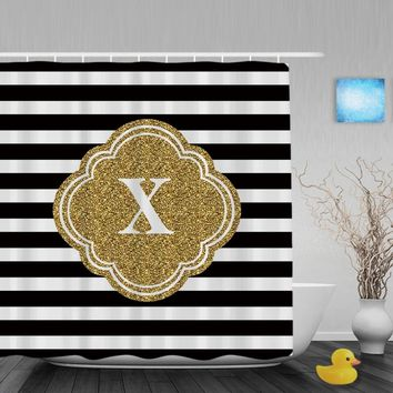Customized Black White Stripe Shower Curtain