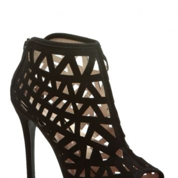 Black Faux Nubuck Geometric Cut Out Heels @ Cicihot. Booties spell style, so if you want to show what you're made of, pick up a pair. Have fun experimenting with all we have to offer!