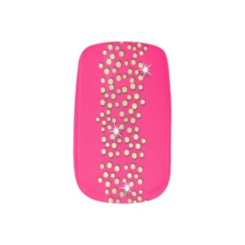 Pink and Gold Sparkly Glitzy Party Nails Minx® Nail Art