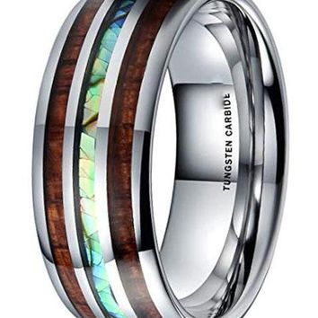 CERTIFIED 8MM Nature Tungsten Carbide Wedding Ring KOA Wood & Abalone Shell Inlay Dome Style Band