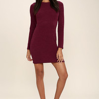 In the Simpli-City Burgundy Sweater Dress