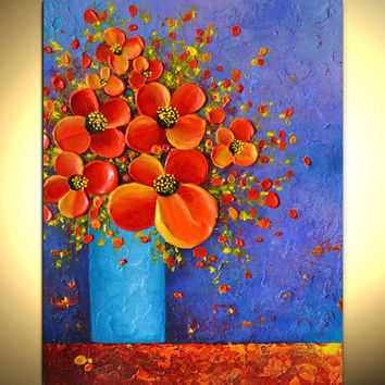Still life abstract flower painting, impasto painting, floral art vase bouquet, canvas wall decor, gift idea