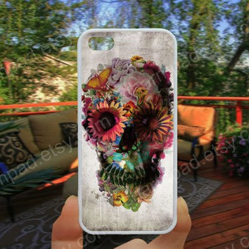 Skull case flowers case colorful  iphone 4/4s case iphone 5/5s/5c case samsung galaxy s3/s4 case galaxy S5 case Waterproof gift case 505