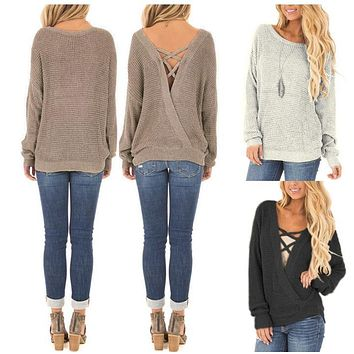 CRISS-CROSS LACE-UP REVERSIBLE SWEATER