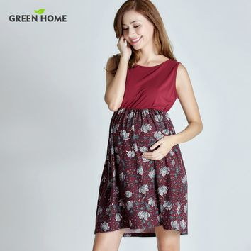 Green Home Summer Floral Maternity Dresses Sleeveless Pregnancy Dress for Pregnant Women Daily Wearing Feeding Maternity Clothes