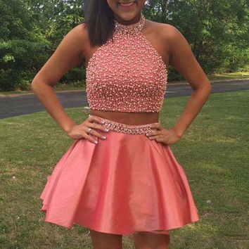 Halter Pearls Beaded Glitter Dress for Girls Coral Two Pieces Homecoming Dresses Satin Open Back Short Cocktail Dress