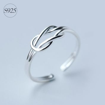 925-sterling-silver Double Love Knot Ring | Infinity Couple Rings Friendship Gift adjustable GTLJ815