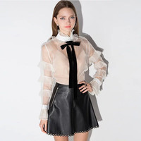 Black Vintage Leather Skirt