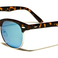 Wayfarer Mirrored Iridescent Unisex Sunglasses with Tortoise Shell Frames - Blue/Green