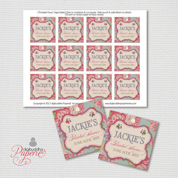 "Favor Tags Vintage Rose Bridal Shower Thank You Tags Vintage Favor Tags 2.25"" Square Retro DIY Printable or Printed - Jackie Style"