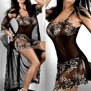 Newly Design embroidery Sexy Lingerie set lady print perspective lure pajamas women underwear May6
