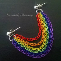 Rainbow Gay Pride chained cartilage earring