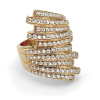 1.50 TCW Round Cubic Zirconia 14k Yellow Gold-Plated Multi-Row Cocktail Ring