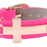 Buckle Bracelet with Gold Cross -Available in Pink, Brown, Mint, Black,