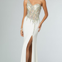 JVN by Jovani One Shoulder Rhinestone Embellished Floor Length Dress