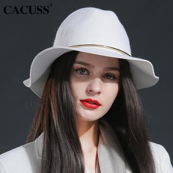 Cacuss brand winter hats women large brim winter wool hats fashion girl elegant female winter hats special fedoras hats girl