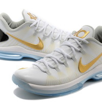 Nike Zoom KD V Elite white/gold Klein Durant Basketball Shoes For Men in 93990 Discount Sell [M005850]$99.99