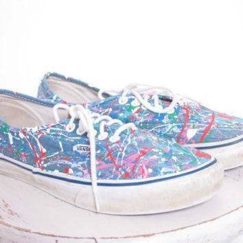 CUPUPH3 Custom Made Splatter Painted Vintage Vans Boat Shoe Sneakers Adult Size 7 1/2
