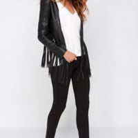 Wild Thing Black Vegan Leather Fringe Jacket