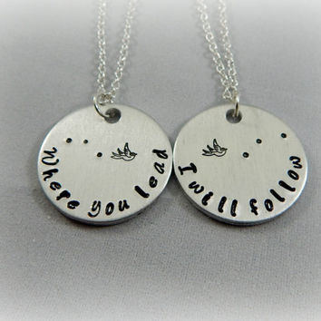 Where you lead I will follow - Best Friends Stamped Necklace - Mother Daughter Jewelry - Gift for BFF - Mother's Day - Pop Culture - kg3