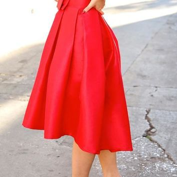 Red Pleated Irregular Bow High-Low Tutu High Waisted Party Skirt
