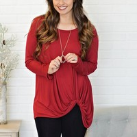 *  Kortney Curvy L/S Knot Top : Deep Red