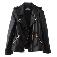 Luv Aj Leather Moto Jacket in Plain Lambskin with Rose Gold Hardware