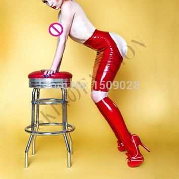 Free shipping !! Latex rubber red cheeky pencil skirt(without stockings)
