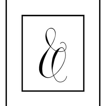 Ampersand, black and white print, minimal printable, home office art, download, calligraphy ampersand poster, dorm art, wall decor, prints