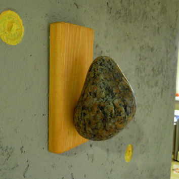 Coat Rack Hook hanger with natural Sea STONES Hardwood Handcrafted Unique gift. Wall mounted solid wood coat rack with natural Sea Stones