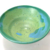 Turquoise Ceramic Pottery Bowl with green and blue multi colored, ready to ship,cereal bowl, ice cream bowl,blue pottery, green ceramic bowl