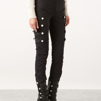 ISABEL MARANT NORM BLACK STRETCH COTTON SKINNY PANTS