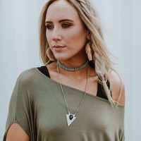 Into The Night Layered Arrow Choker - Silver